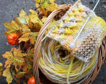 natural pure wool yarn 100 grams 130 meters, handdyed handspun wool yarn