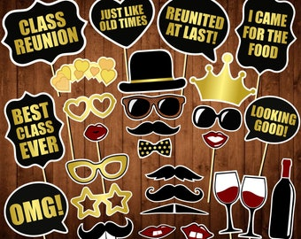 Class Reunion Photo Booth Props - Printable PDF - School Reunion Party Photobooth - Gold and Black - Class Reunion Party Ideas
