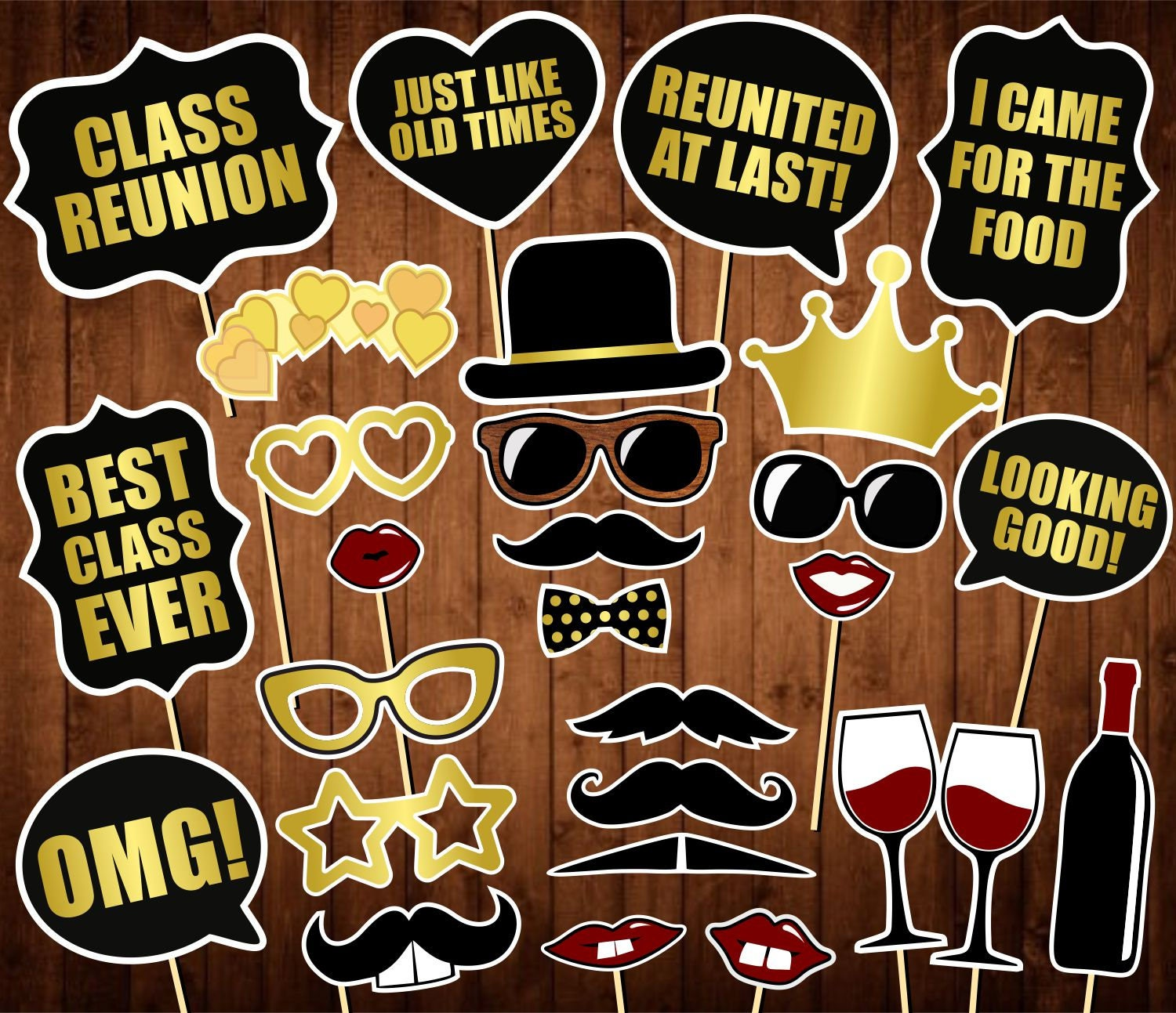 Class Reunion Photo Booth Props Printable Pdf School