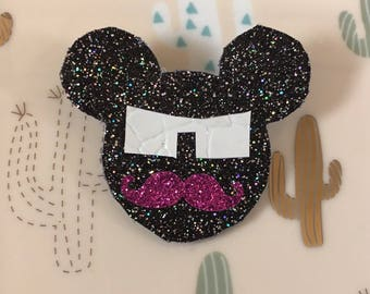 Mickey glitter brooch mustache and glasses
