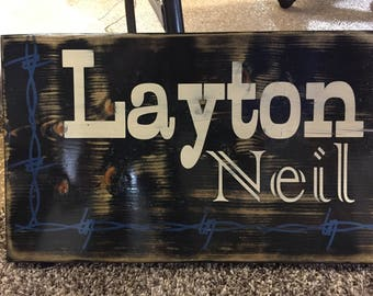 Boy Personalized Barbed Wire Name Sign