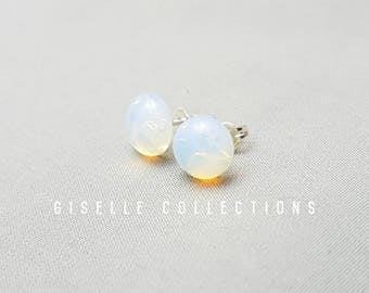 Opalite studs, silver earrings, Earring posts, Tiny earrings, Gifts for best friend Under 30, improves communication