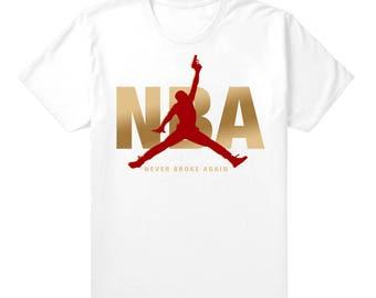 "Tee Shirt to Match Air Jordan 13/14 Dmp Pack ""'NBA JUMPMAN"""" Mens White Tee Shirt"