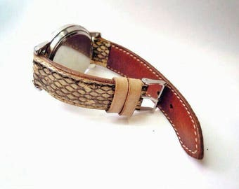 Watch strap made of genuine leather snake. Leather watch strap 18, 20, 22, 24mm. Gift for him. Gift for her.