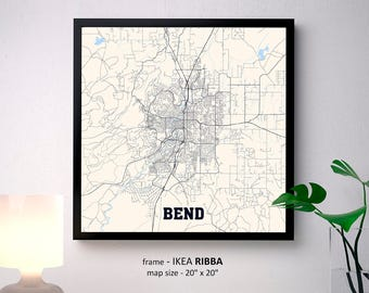 Bend Oregon Map Print, Bend Square Map Poster, Bend Wall Art, Bend gift, Custom Personalized map