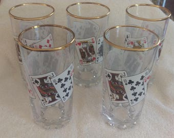 Set of 5 Pasabahce Playing Cards Royal Flush Poker Drinking Glasses