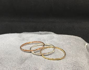 Thin gold filled stackable rings, hammered rings, thin rings