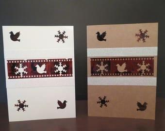 Unique,unusual, Handmade Flim negative Holiday cards PEACE & POSITIVITY (card #1)