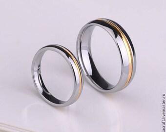 Wedding Rings. Tungsten. Plating 18K Gold