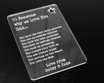Personalised 10 Reasons Why I Love You Dad, Daddy -  Wallet Card Insert - Father's Day Gift, Grampy, Grandad, Uncle, Brother