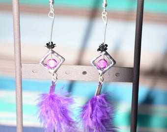 Purple feather earrings and magic pearls