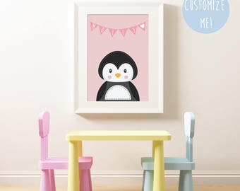 Penguin Bunting Name Nursery Print, Customize your own. Choose your own colour and name!