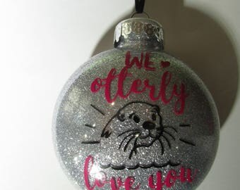 Glitter Ornaments -- otter gifts -- christmas