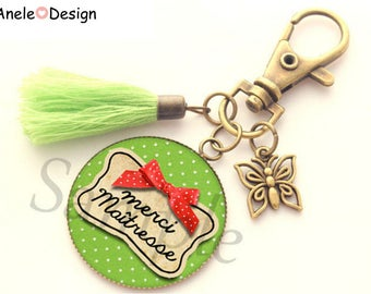 Keychain bag charm for teacher - teacher thank you - red bow tie green tassel bottom