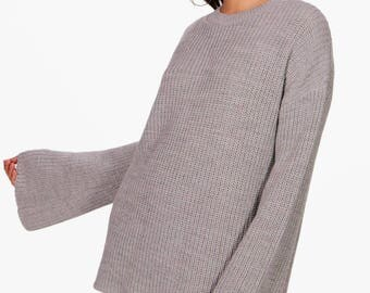 Wide Sleeve Knitted Jumper - Acrylic Knit Bell Sleeve Jumper