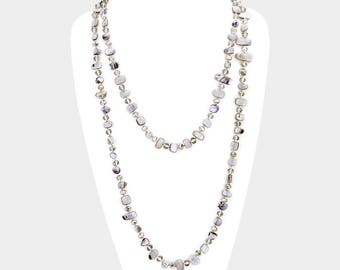 Gray Multi Beaded Wrap Necklace