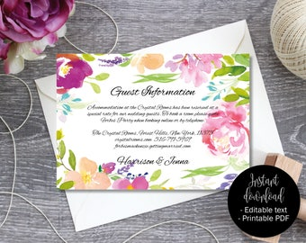 Wedding Guest Information Template, Editable Wedding Guest Information, Text Editable Template Printable, Watercolor Flower Border 6 INFO-6