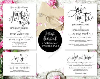 Wedding Invitation Template Set, Save the Date Printable, Invite, RSVP Reply Card, Guest Information, Editable Printable Wedding Templates