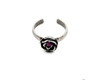Ring crystals, silver, rose, Swarovski Fuchsia, Adjustable ring size, nickel free, handmade jewelry