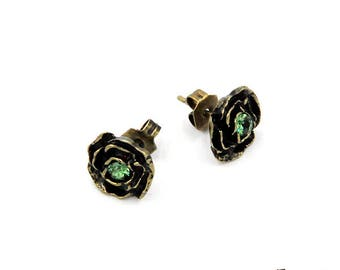 Rose earrings, Swarovski crystals, brass antique, Erinite, flower, nickel-free, plug handcrafted jewellery