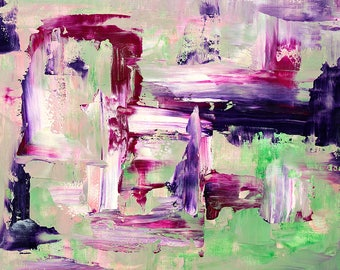 Abstract fine art print in green purple and pink #1
