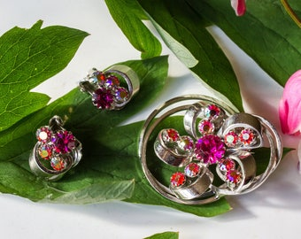 Aurora Borealis and Pink Stone Silver Tone Continental Brooch and Clip on Earrings Set Vintage