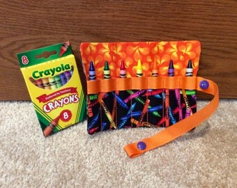 """FREE US SHIPPING, Crayon roll up storage with orange  trim, Crayon carry case, snap close Crayon roll, multiple colors available, 5"""" x 5.75"""""""