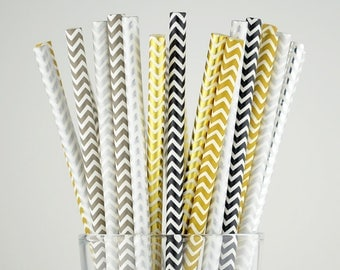 Color Mix Chevron Paper Straws - Gold/Silver/Grey/Black - Party Decor Supply - Cake Pop Sticks - Party Favor