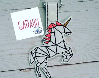 Unicorn Key Fob Snap Tab Embroidery Design 4X4 size
