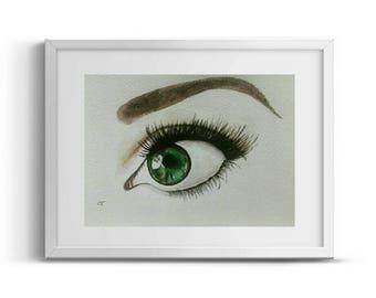 Original watercolor green eye