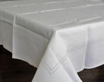 Beige Linen Tablecloth, Hemstitch Linen, Vintage Tablecloth, Hemstitch  Table Cloth, Small Table