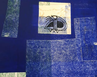 Blue background, cubism, ladybug, etching, handmade paper, modern art, wall art