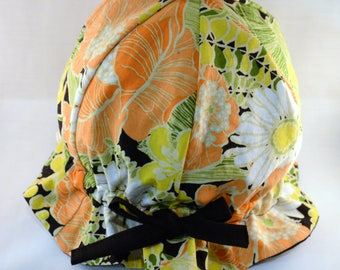 """Cotton """"Grow-with-Me"""" Sunhat - Daisies Floral - Adjustable Size - Ruffled Brim - Velcro Chin Strap - 0-3+ Years - Stay-On Hat"""