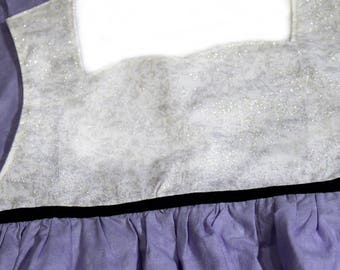 Princess Apron - Silver Sparks with Purple and Black - Kid's, Child's Apron - Preschool, Toddler - Costume, Dress-Up