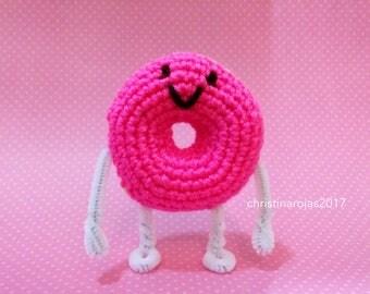 Amigurumi Crochet Donut Doughnut Strawberry Frosted