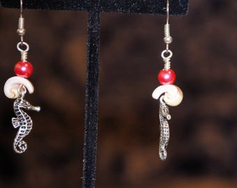 Pink Seahorse and Shelll Dangle Earrings