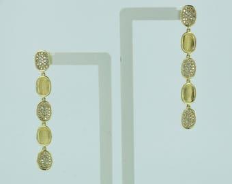 Diamond Drop Earrings / 14k Gold Earrings / Drop Earrings / Diamond Earrings / Yellow Gold Diamond Earrings