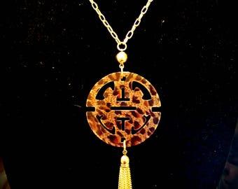 Zenzii Leopard Tassel Necklace