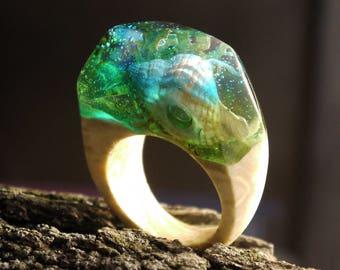 Inspirational ring Ocean lover gift Ocean rings for women Ocean jewelry Mermaid ring Terrarium jewellery Gift ring with wood and resin rings