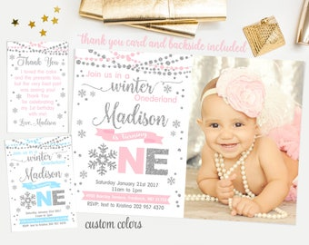 Winter onederland invitation girl, winter onederland first birthday party, pink and silver glitter, snowflakes first birthday invitation