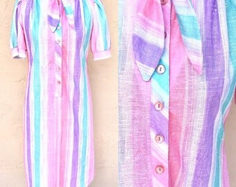 Vintage Unicorn Dress/ 1970s Pastel Dress/ Vintage Dress/ Pink and Purple Dress/Cupcake Dress