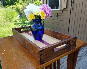 Handmade Serving Tray with Maple Inlay