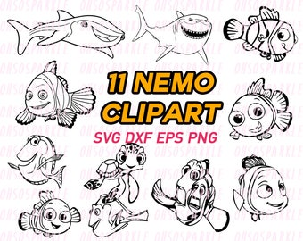 nemo svg, finding nemo, clipart, eps, png, silhouette,