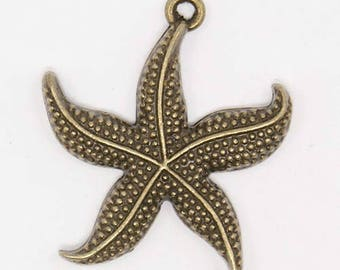 10 Antiqued Bronze  Starfish Charms 26 x 23 x 2.5mm
