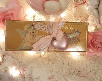 Shabby Chic Valentine Cookie Box Angelina's Sweet Butter Cookies Container Gold and Pink Valentine Decoration Gift Box
