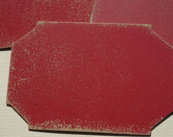 Three Red Distressed Metal Embellishments 2 1/2 inches Wide