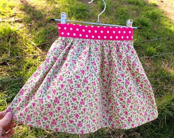 Party Skirt for Girls - 100% Cotton Gathered Skirt - Pink Polka Dot / Green Floral - Size 4