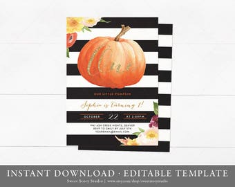 Little Pumpkin First Birthday Invitation Card   Instant Download, Editable, Printable   Fall Girl's First Birthday Invite