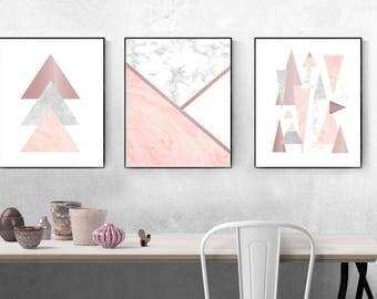 Géométrique rose, rose or, mur imprimé, triangles, montagnes, fard à joues rose, or rose, marbre, mur décor, art, affiches, set de trois, abstrait
