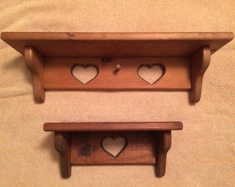 Set of Two Country Hearts Shelves